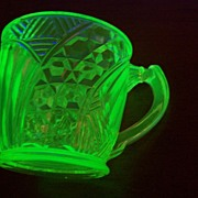 SOLD Victorian  Era  Vaseline Pressed Glass Mug / Cup
