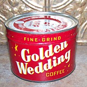Vintage Advertising Golden Wedding Coffee Can Tin  with Lid and No Bottom