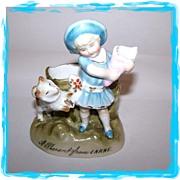 Victorian Era Souvenir Match Holder Girl Dog A PRESENT FROM LARNE