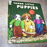 Collectible Three Little Puppies Rand McNally Elf Book Ruth Dixon Dressed-up  Photographed Pup