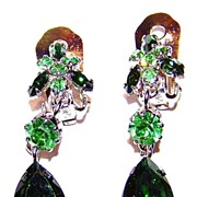 SALE Green & Uranium Crystal Rhinestone Dangle Earrings Austria
