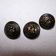 Lot of 3 Brass Cross Crown Knights Templar Buttons Superior Quality