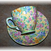 SOLD Colorful Chintz Tea Cup & Saucer Sampson Smith Old Bone China