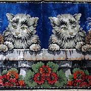 Colorful Vintage Kitty Cat Tapestry Flowers & Balcony