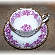 Shafford Hand Decorated Japan Mulberry & Pink Leaf Vine Tea Cup & Saucer