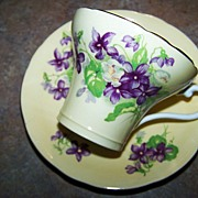 SOLD Yellow Ground Purple Violet Floral Motif Cup & Saucer Aynsley Reserved for Nancy