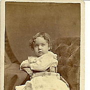 A Charming Vintage Carte De Visite Photograph Curly Haired Little Girl