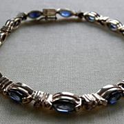 Fine 14K YG Sapphire & Diamond Line Bracelet
