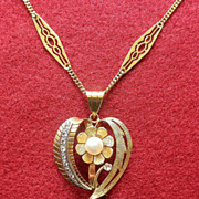 Vintage 18K YG Heart Pendant With Diamonds and Cultured Pearl