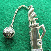 Adorable Sterling & Marcasite Golf Pin