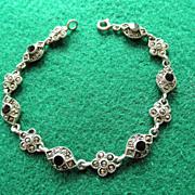 Great Vintage Sterling Marcasite & Onyx Bracelet