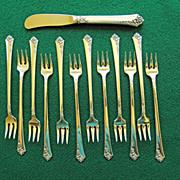 """12 Sterling Cocktail Forks & Spreader -  Oneida Heirloom """"Damask Rose"""""""