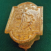 Antique Gilt Bronze Footed Box Lady & Cherub