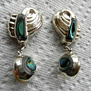 Mexico Sterling & Abalone Pierced Hanging Earrings