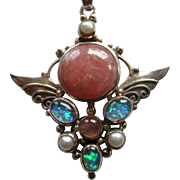 Fantastic Shankari Sterling & Gemstone Pendant With Sterling Chain