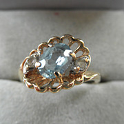 Sweet 14K Blue Topaz & Diamond Ring