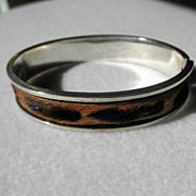 Unusual Sterling & Calf Hair Bangle Bracelet