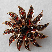 Antique 9K Yellow Gold & Garnet Brooch/Pin