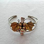 Mexican Sterling Cuff Bracelet Grape Motif