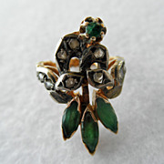 Antique 18K Bird Ring Emeralds & Diamonds