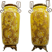 Pair Czech Spatter Glass Vases With Enamel