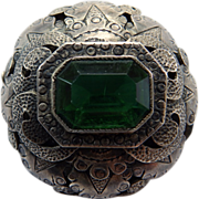 Huge Victorian Silver Brooch/Pin With Green Paste Stone
