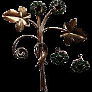 Vintage Sterling Leaf Brooch & Earrings Green Paste