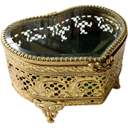 Vintage Heart Shaped Glass & Pierced Brass Jewelry Box
