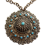 Middle Eastern Silver Medallion Pendant With Turquoise