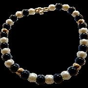 14K Onyx & Cultured Pearl Bead Bracelet