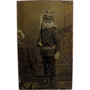 Tintype of a Boy Soldier  -  1/4 plate size