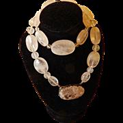 Carved Rose Quartz & Sterling Necklace