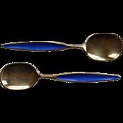 Pair Gilt Sterling & Enamel Spoons Norway Ottar Hval