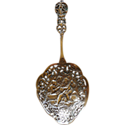 Ornate Sterling Figural Pierced Serving Spoon