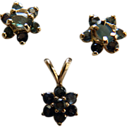 14K Yellow Gold & Synthetic Alexandrite Earrings & Pendant