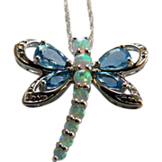 10K White Gold Dragonfly Pendant with Opals & Blue Topaz On Chain