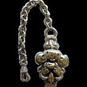 Victorian Silver Belt Watch Hook & Chain