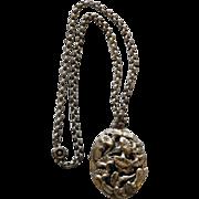 Art Nouveau Floral Pendant On Belcher Chain