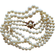 Double Strand Cultured Pearl & 14K & Ruby Necklace