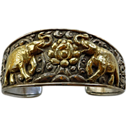 Vintage Repousse Sterling Cuff Bracelet With Elephants