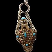 Victorian Ormolu Filigree Jeweled Chatelaine Perfume
