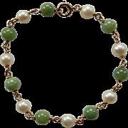 14K Yellow Gold Cultured Pearl & Serpentine Bracelet