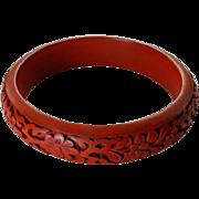 Chinese Cinnabar Bangle Bracelet