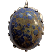 Vintage 800 Silver Pendant With Lapis Matrix Stone