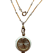 Vintage Bucherer Enamel Pendant Watch On Art Deco Gold Filled Ladies Watch Chain