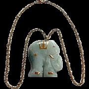 Vintage 14K Jadeite Elephant Pendant On 14K Yellow Gold Chain