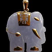 Vintage Lavender Elephant Pendant With 14 Karat Yellow Gold Trim