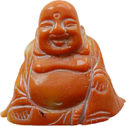 Vintage Carved Natural Coral Chinese Buddha Figure
