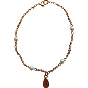 "Petite Vintage 14K Bracelet With Amethyst & Cultured Pearls 6"""