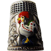 Rare Sterling Decorative Thimble With Enamel Rooster